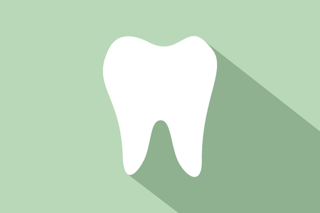 simple flat tooth icon with long shadow on green background