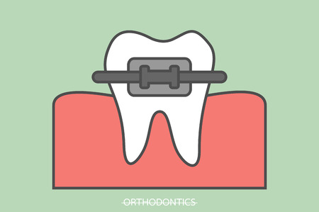 tooth cartoon vector, orthodontics teeth or dental braces