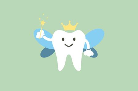dental cartoon tooth fairy. Vector Illustration