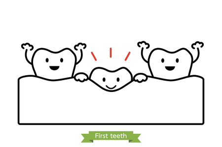 Dental cartoon vector line art style, first teeth or baby tooth. Illustration