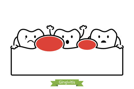 unhealthy teeth because gingivitis - dental cartoon vector outline style, cute character for design.