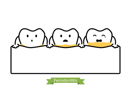 symptom: Dental plaque or tartar - tooth cartoon vector outline style, cute character for design Illustration