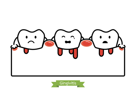 Unhealthy teeth because gingivitis and bleeding - dental cartoon vector flat line style, cute character for design