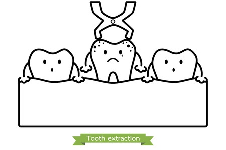 aching: tooth extraction by dental instrument - teeth cartoon vector outline style, cute character for design