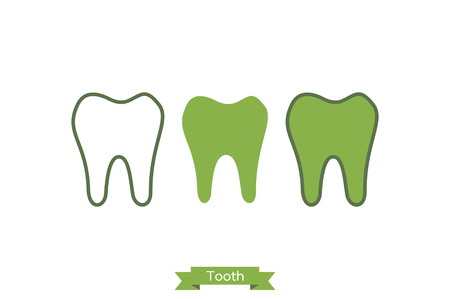 Simple flat tooth icon - dental cartoon vector outline style, cute character for design