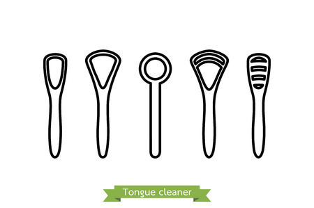 isolate: Set of tongue scraper or cleaner type - dental cartoon vector outline style, cute character for design Illustration