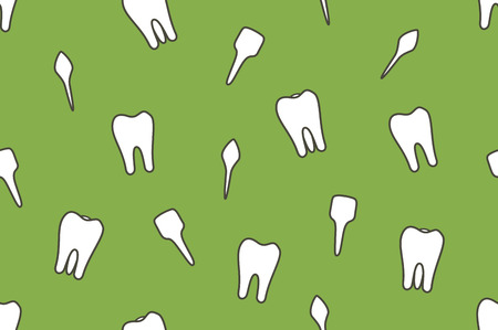 Dental vector seamless pattern - tooth type - incisor, canine, premolar, molar