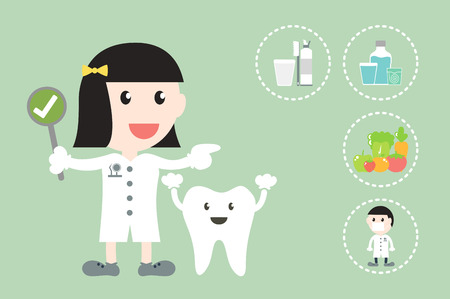child care: Dental health care cartoon vector, dentist and tooth are present for makes healthy teeth