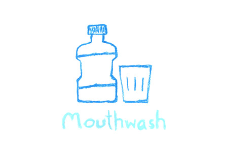 dental crayon drawing - mouthwash bottle and glass Stock Photo