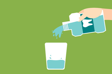dental cartoon vector, hand pouring blue mouthwash into glass isolated on green background. flat style