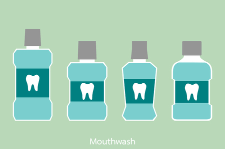 dental cartoon vector, mouthwash bottle with a tooth on label isolated on green background. flat style Stock Vector - 82236940