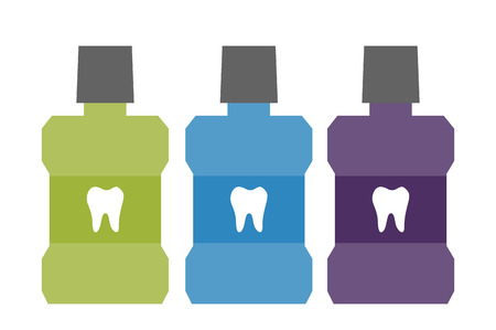 Dental cartoon vector, mouthwash bottle with a tooth on label isolated on white background. flat style