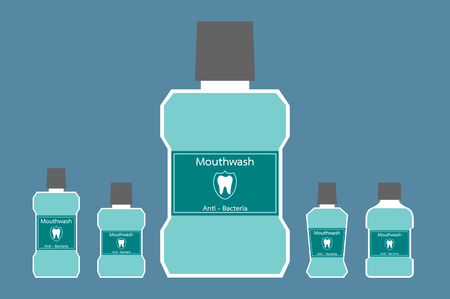 A dental cartoon vector, different bottle of mouthwash with a tooth on label isolated background. flat style illustration.