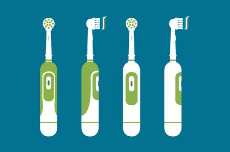 歯科漫画ベクトル、背景に分離された歯を磨く歯磨き粉で電動歯ブラシこんにちは朝 - デザインのフラット スタイル 写真素材 - 83870731