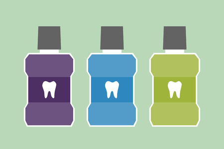 dental cartoon vector, mouthwash bottle with a tooth on label isolated on green background. flat style