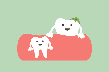 Dental cartoon vector, baby tooth and mom - first teeth concept