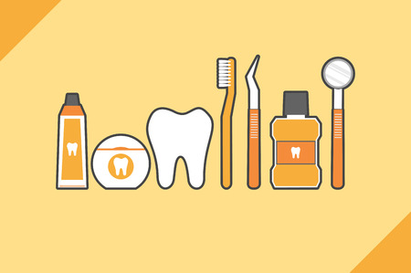 family isolated: Healthy teeth family with toothbrush toothpaste mouthwash floss and dentist tool, dental care concept Illustration