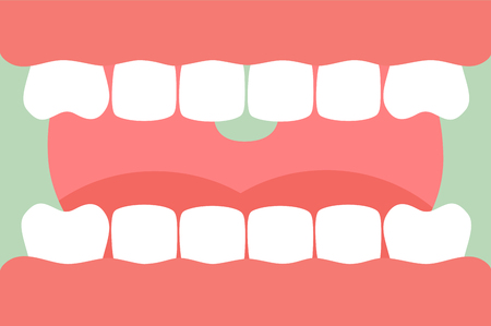 Tooth cartoon vector flat style for design - open mouth with healthy teeth and tongue, dental care