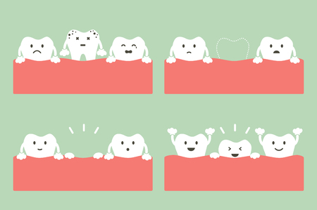 Step of caries to first teeth, dental care concept in cartoon flat style illustration.