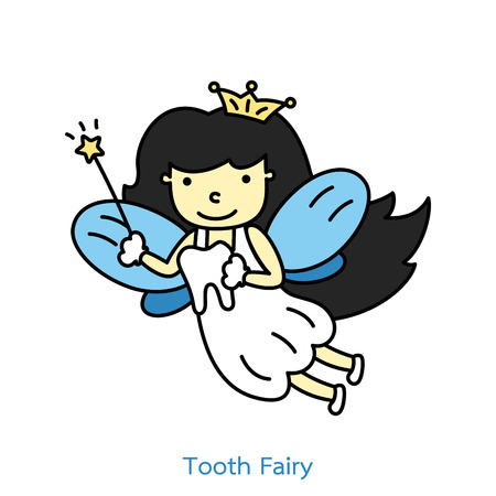 Dental cartoon vector flat style for design. Cute tooth fairy flying with teeth. Illustration