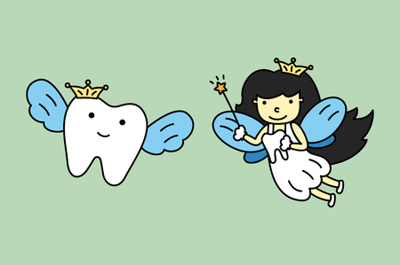 Cute tooth fairy flying with healthy teeth - dental. Cartoon vector flat style cute character for design.