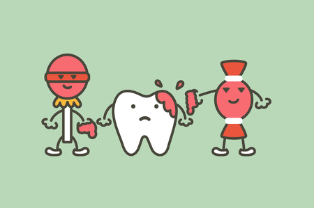 teeth are smudged from sweet, decay tooth concept - dental cartoon vector flat style cute character for design