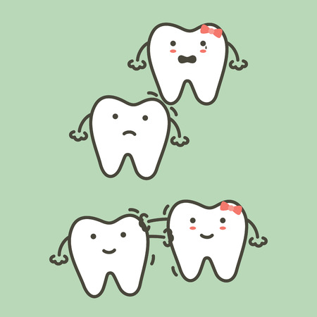 step of wisdom tooth, before and after - dental cartoon vector flat style cute character for design