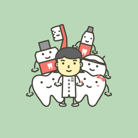 female dentist and best friend of healthy family tooth have toothbrush, toothpaste, mouthwash and floss. dental care concept - teeth cartoon vector flat style cute character for design
