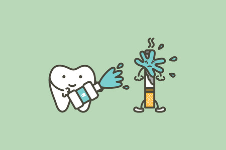 cleaning tooth by mouthwash to prevent yellow teeth from cigarette stain  - dental cartoon vector flat style cute character for design