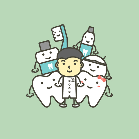 male dentist and best friend of healthy family tooth have toothbrush, toothpaste, mouthwash and floss. dental care concept - teeth cartoon vector flat style cute character for design