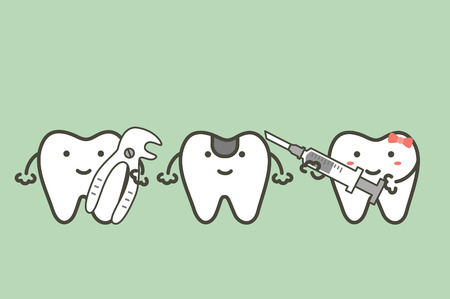 Dental cartoon illustration of tooth extraction