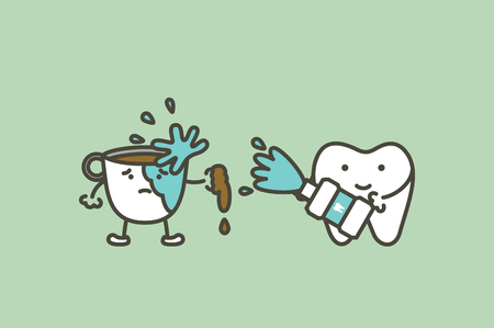 Dental cartoon of preventing coffee stains using mouthwash