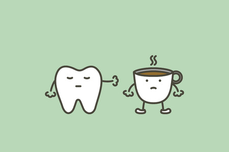 A healthy tooth saying no to coffee to prevent yellowish discoloration.