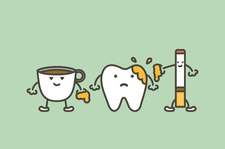 Tooth with decay from coffee and cigarette. Illustration