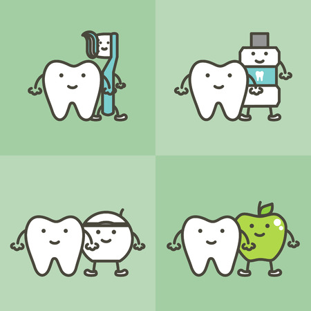 Healthy tooth and best friends toothbrush, toothpaste, mouthwash, floss and apple Иллюстрация