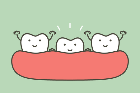 Tooth growing up from gum and other teeth