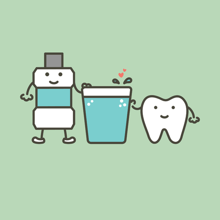 healthy tooth and mouthwash with heart preparing for cleaning teeth - dental cartoon vector flat style cute character for design