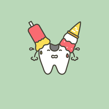 ice cream on teeth, caries or decay tooth concept - dental cartoon vector flat style cute character for design