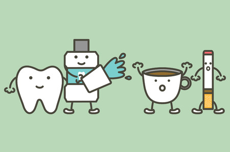 Teeth cleaning by mouthwash to protection yellow tooth from coffee and cigarette stain - dental cartoon vector flat style cute character for design. Illustration