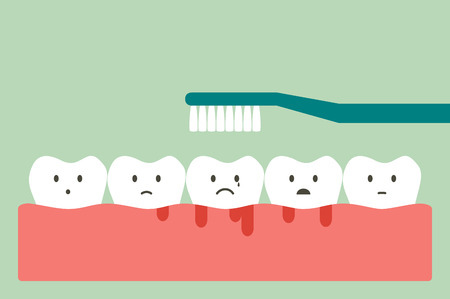 Brushing teeth with bleeding on gum and tooth, gingivitis or scurvy concept. Dental cartoon vector flat style cute character for design.