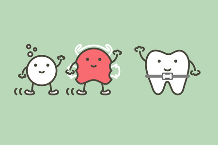 Happy orthodontic teeth or dental braces and friend have retainer and effervescent tablet - tooth cartoon vector flat style cute character for design