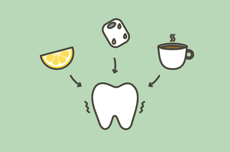tooth feeling sensitive teeth from cold ice, sour lemon and hot coffee drink - dental cartoon vector flat style cute character for design Vecteurs