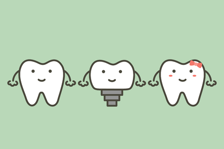 tooth implant, teeth change new root and friends - dental cartoon vector flat style cute character for design