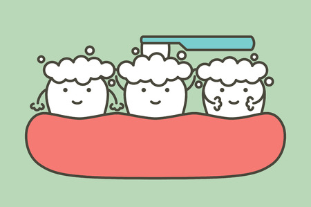 healthy white tooth and friend are brushing teeth - dental cartoon vector flat style cute character for design