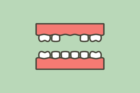 missing tooth, space between teeth - dental cartoon vector flat style cute character for design