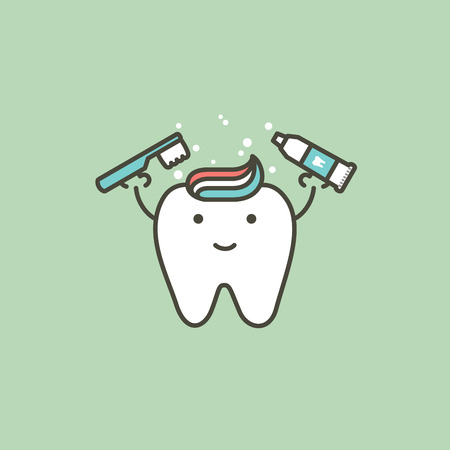 healthy white tooth holding toothbrush and toothpaste, brushing teeth concept - dental cartoon vector flat style cute character for design