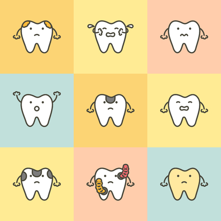 set of dental care, element for tooth concept ( decay, yellow, bacteria, sensitive ) - teeth cartoon vector flat style cute character for design
