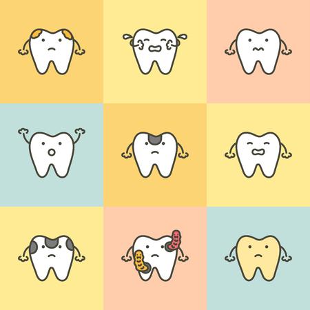 Zahnpflege, Element für Zahnkonzept (Karies, Gelb, Bakterien, empfindlich) - Zähne Cartoon Vektor flacher Stil niedlicher Charakter für Design