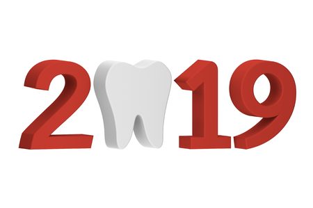 tooth with numbers isolated on white for Merry Christmas or Happy New Year 2019, dental care concept - teeth cartoon 3d render flat style cute character for your creative design Reklamní fotografie