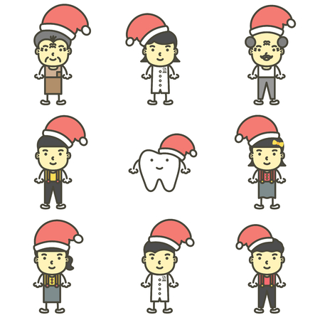 happy tooth, dentist, boy, girl, children and senior wearing santa claus hat and Christmas costumes for Merry Christmas and Happy New Year - dental cartoon vector flat style cute character for design